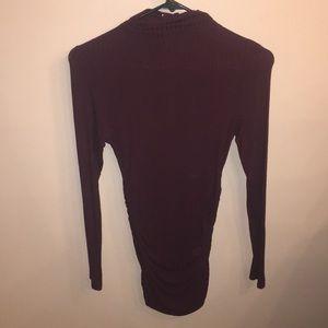Windsor Burgundy Mock Neck Ruched Tunic
